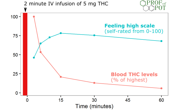 Blood THC levels vs. feeling high after an intravenous THC infusion
