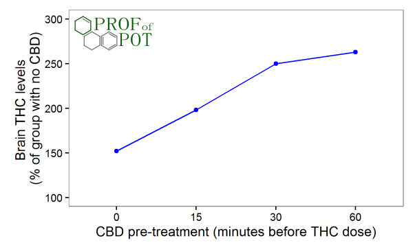 CBD pre-treatment increases THC brain penetration