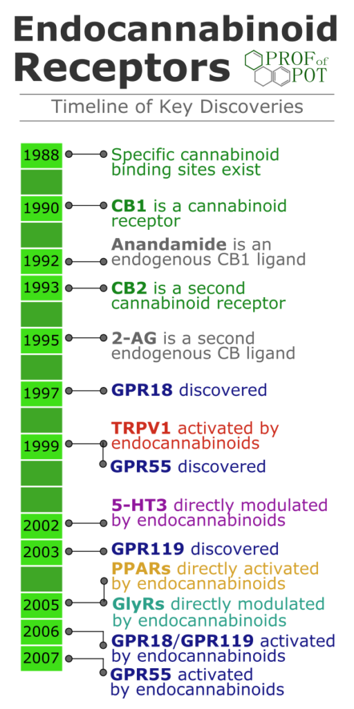 Timeline of discoveries of cannabinoid receptors